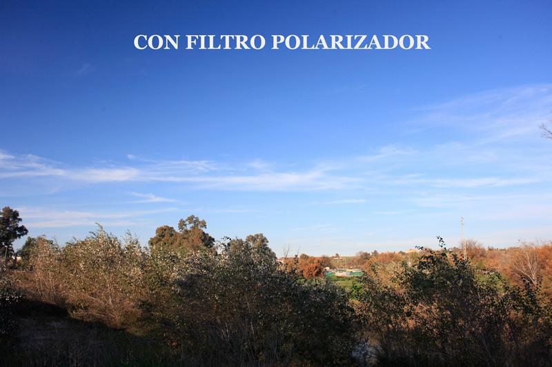 fotografía con filtro polarizador