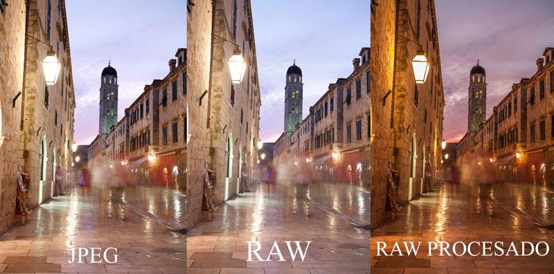 comparativa de fotografía JPEG, RAW y RAW procesaado