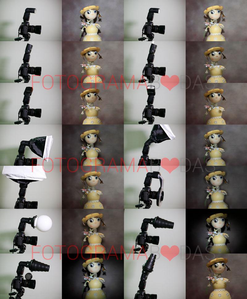 ejemplos de iluminaciones con diferentes movimientos del flash y accesorios